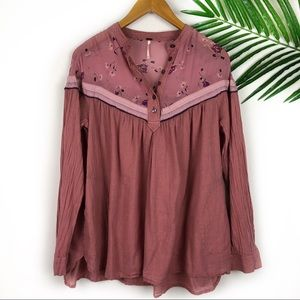 Free people Pink Button Top Floral Detail XS